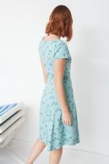 Vestido Mónica ecológico media capa estampado golondrinas de algodón orgánico