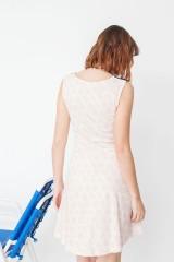 Vestido combinado Maira estampado corales y azul marino