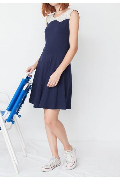Vestido ecológico combinado Maira azul marino y estampado geométrico