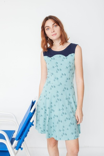 Maira yoke dres with birds print