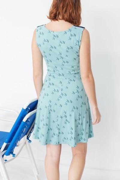 Vestido ecológico combinado Maira estampado golondrinas y azul marino