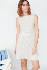 Vestido ecológico Miriam reversible con cuello de solapas y estampado geométrico