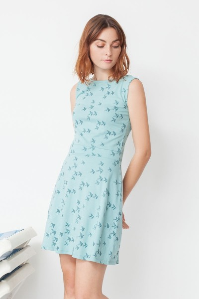Mila Peter Pan collar reversible dress with birds print