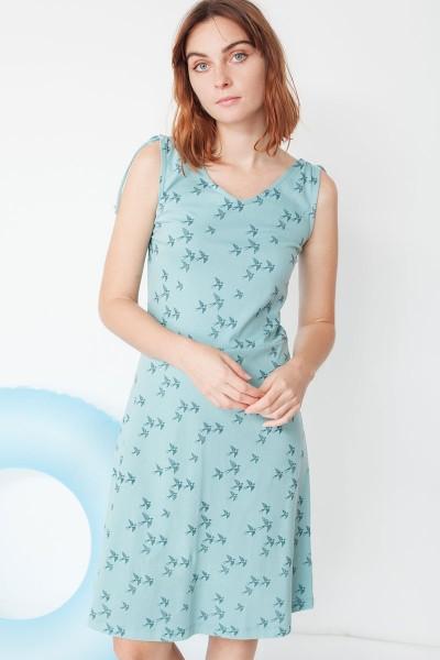 Vestido Mireia con detalle en el hombro con estampado golondrinas