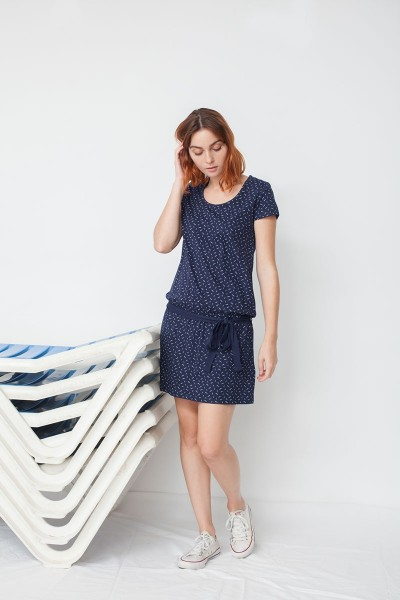 Marga belt dress in navy blue