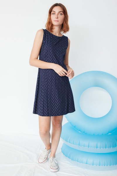 Mariel flared dress in navy blue