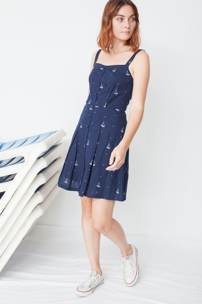 Maimi poplin buttoned dress in navy blue