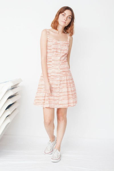 Maimi poplin buttoned dress with red stripe print