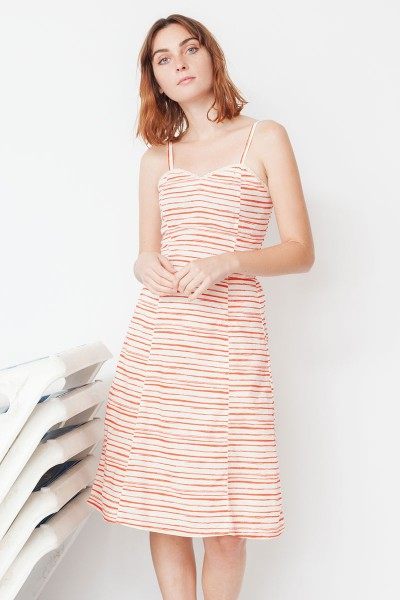 Micaela heart neckline with red stripes print
