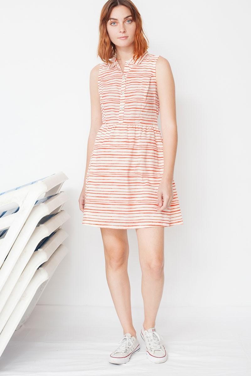 Vestido ecológico Mimi con cuello camisero y estampado de rayas marineras