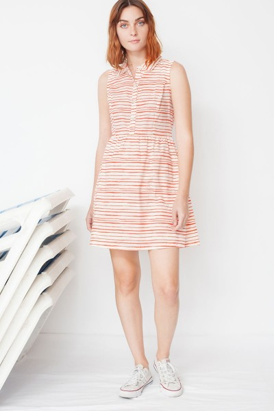 Mimi shirt dress with red stripes print