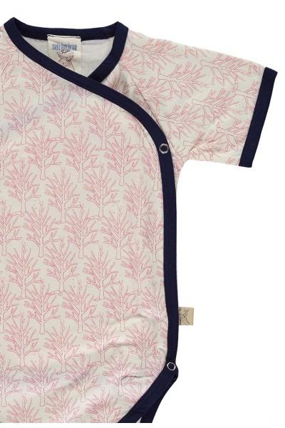 Body kimono algodón orgánico salmón estampado corales