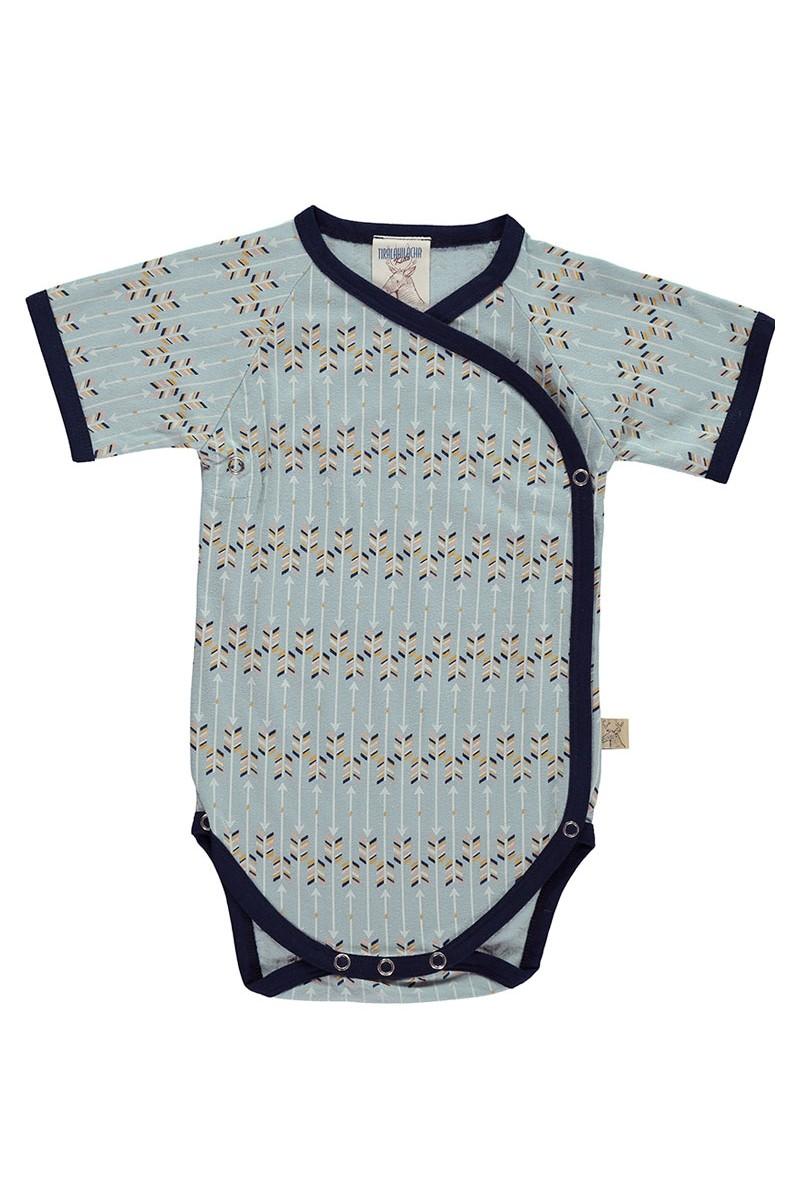 Body kimono de algodón organico azul estampado flechas