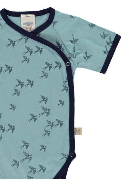 Body kimono de algodón orgánico estampado golondrinas