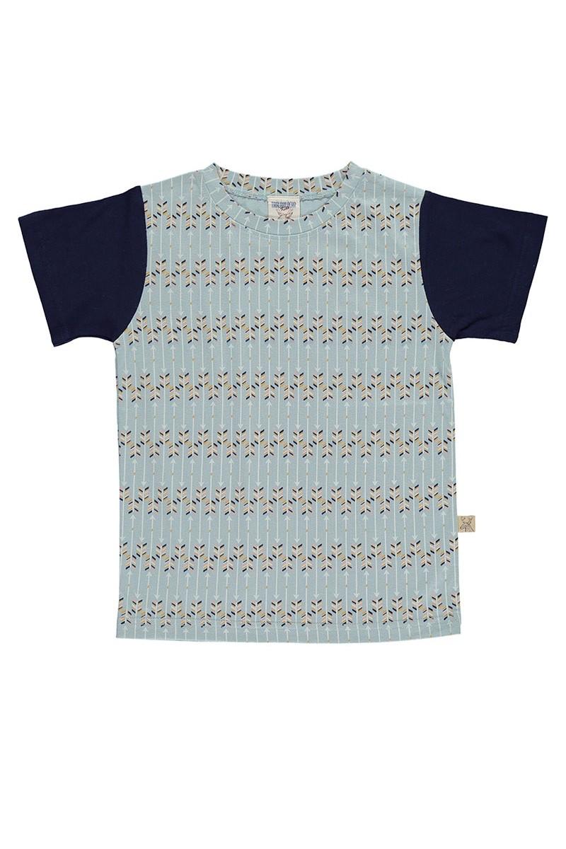 Camiseta unisex de algodón organico verde con estampado de flechas