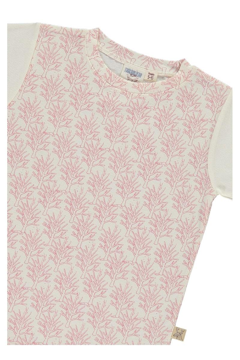 Camiseta unisex salmón de algodón orgánico con estampado de corales