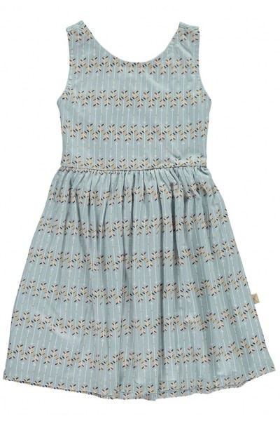 Vestido de algodón orgánico con espalda cruzada azul con estampado flechas