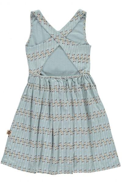 Vestido espalda cruzada azul con estampado flechas