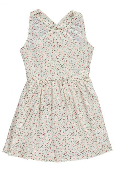 Vestido de algodón orgánico con espalda cruzada con estampado geométrico