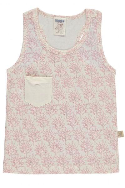 Camiseta sin mangas con bolsillo salmón estampado corales
