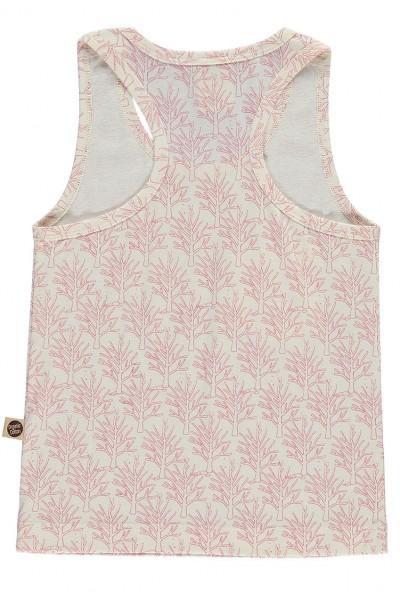 Camiseta de tirantes de algodón orgánico con con bolsillo salmón estampado corales