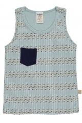 Camiseta de tirantes de algodón orgánico con bolsillo azul estampado flechas