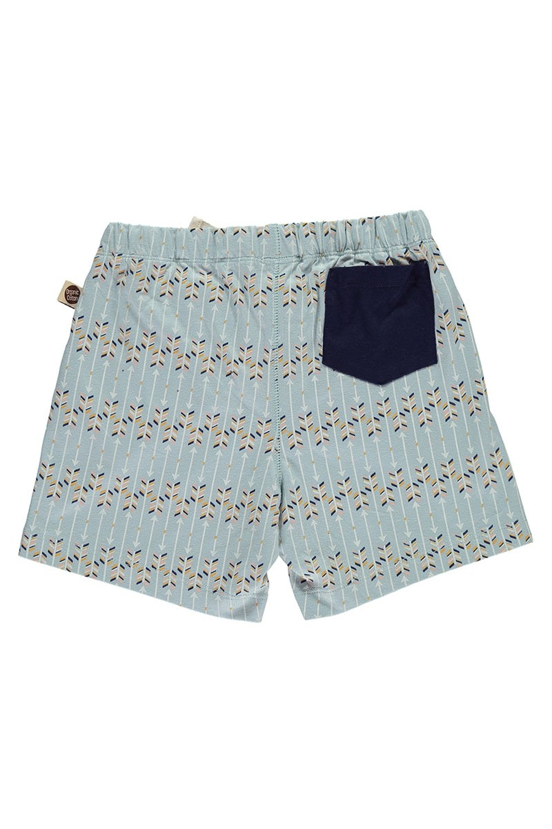 Short de algodón orgánico con bolsillo combinado estampado flechas
