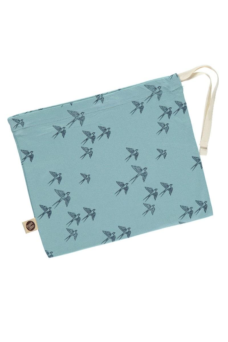 Bolsita de algodón orgánico azul estampado pájaros