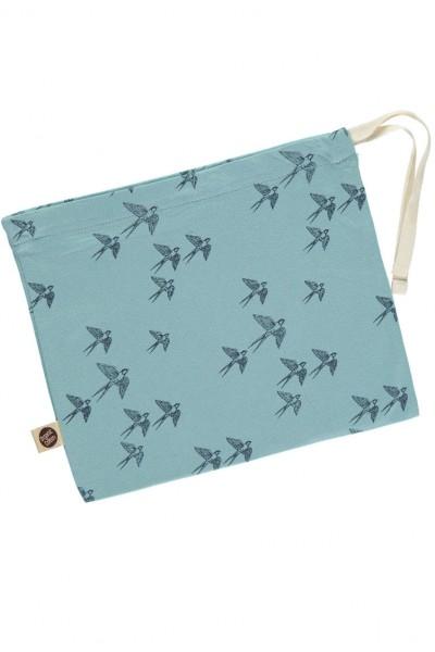 Bolsita azul estampado pájaros