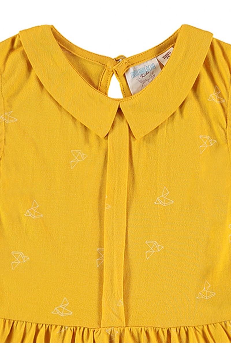 Vestido estampado amarillo colibrí