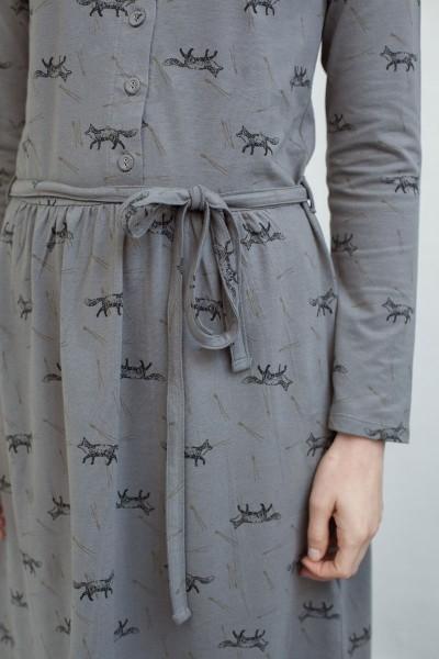 Vestido Noa con botones y estampado zorros.