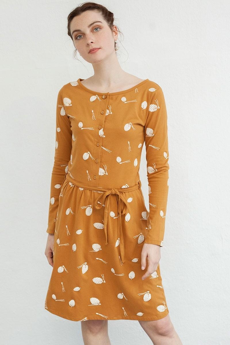 Vestido Noa con botones y estampado piñas.