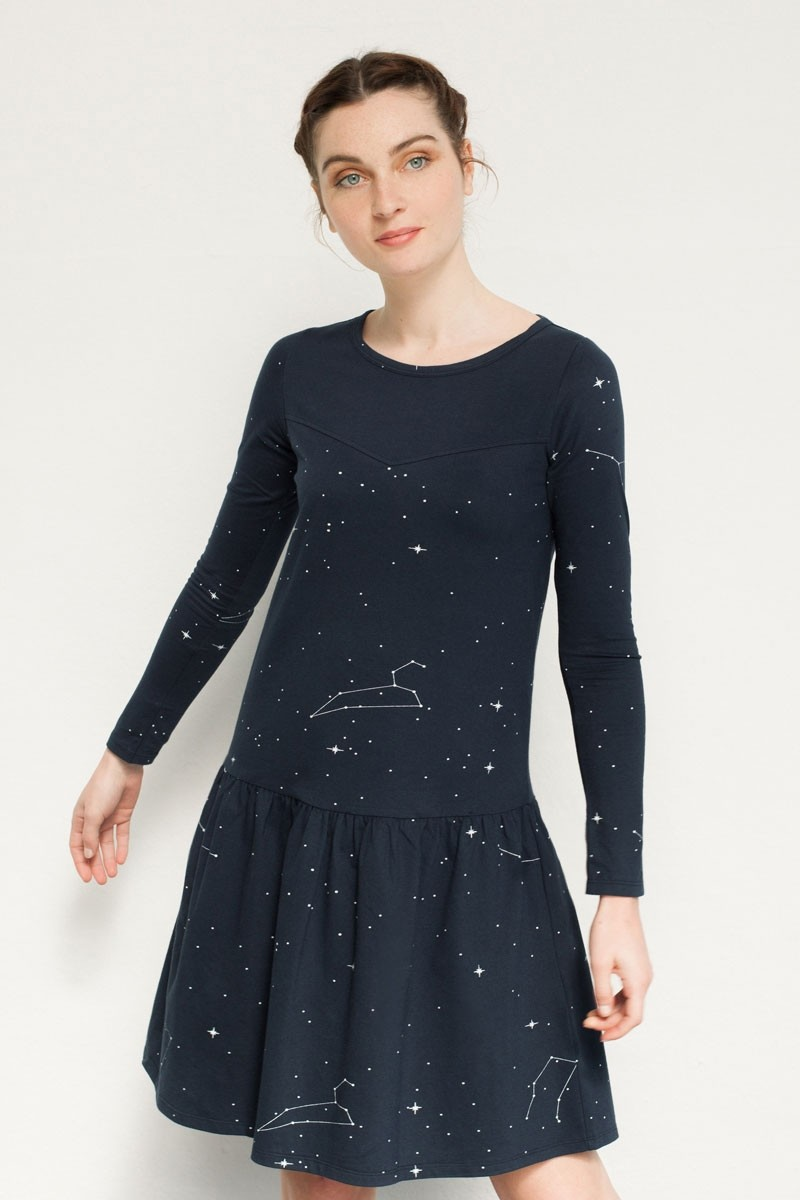 Vestido canesú Naomi estampado constelaciones