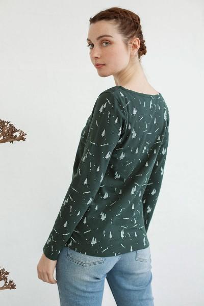 Camiseta canesú Nina estampado pinos.