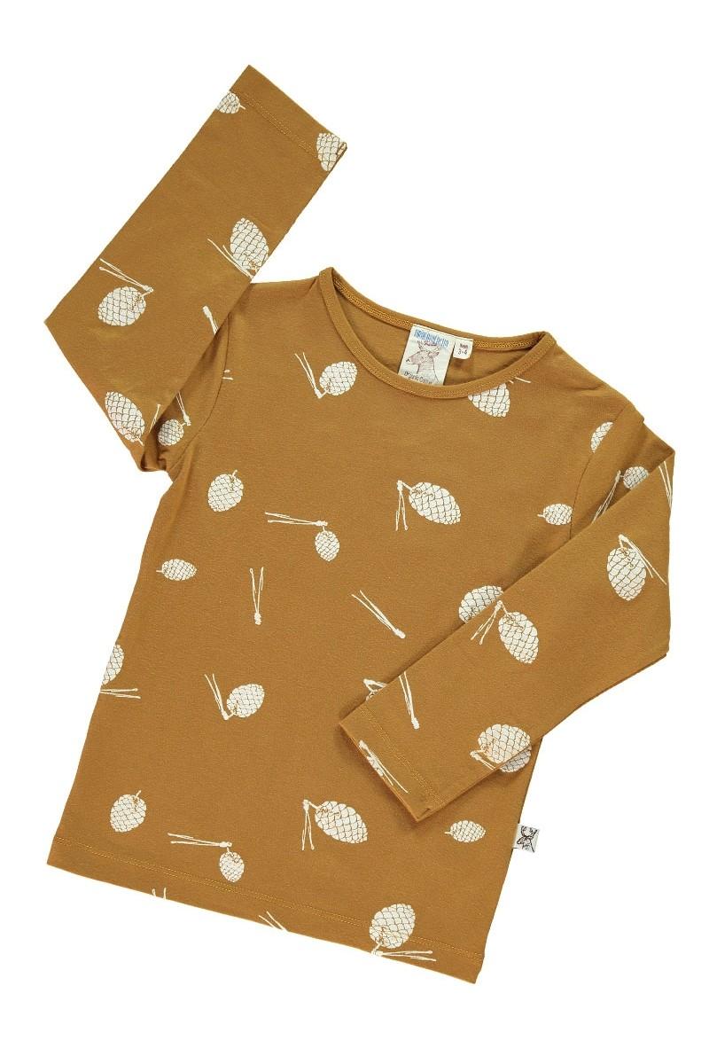 Camiseta manga larga con estampado mostaza