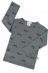 Camiseta manga larga gris con estampado zorros