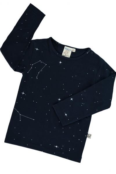 Camiseta manga larga azul marino con estampado constelaciones