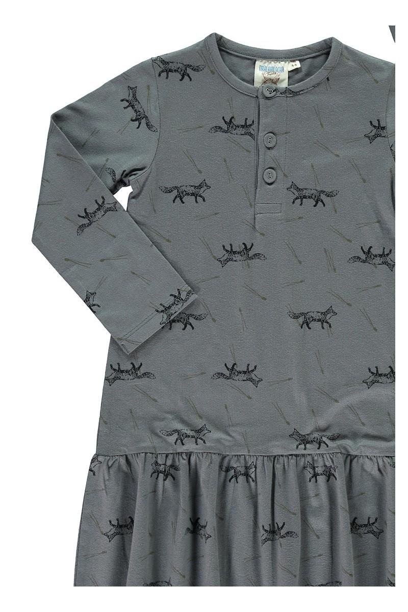 Vestido Charlestón con solapa estampado zorros