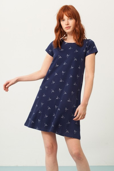 Paloma flared dress in navy blue and origami print