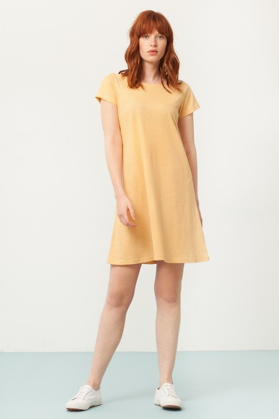 Paloma flared dress in yellow and japan print