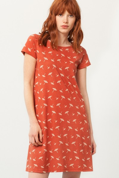 Paloma flared dress in terracotta and umbrella print