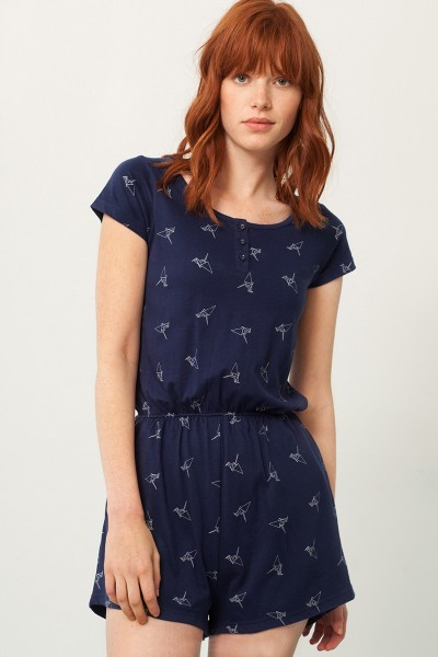 Pia jumpsuit in navy blue and origami print