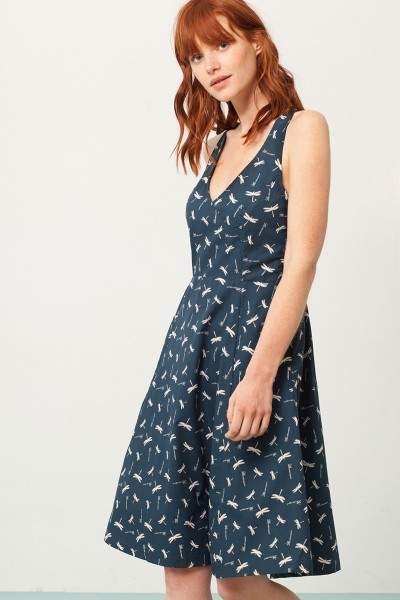 Prunella cross back dress in navy blue and and dragonflies print