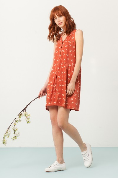 Paula V-neck dress in terracotta and umbrella print