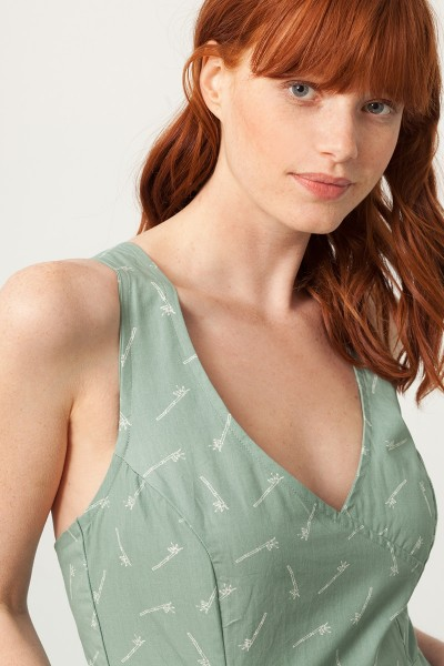 Prunella cross back dress in green and bambu print