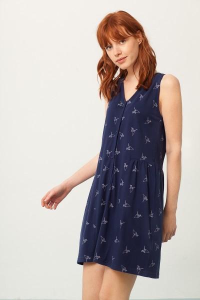 Paula V-neck dress in navi blue and origami print