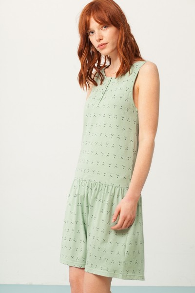 Penelope Charleston dress in mint green and abstract print