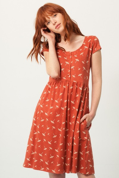 Paz cross back neckline dress in terracotta and umbrella print
