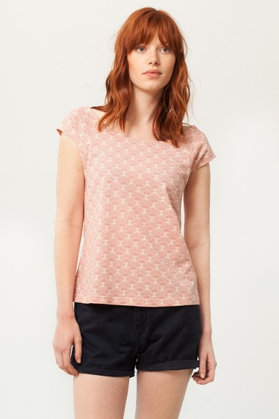 Paola rounded neck t-shirt in salmon and japanese fan print