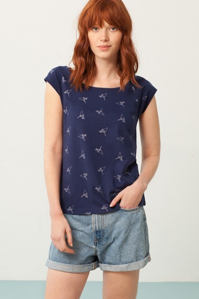 Paula rounded neck t-shirt in navy blue and origami print